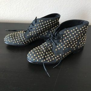 Size 7 Matiko black studded leather booties